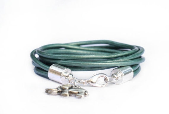 the lucky elephant Teal Green Leather wrap bracelet with GOOD LUCK ELEPHANT.