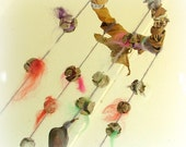 Baby mobile gypsy dance natural wool and pods waldorf wall hanging