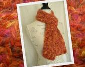 Angel Hair Crochet Scarf - Orange - Ready to Ship