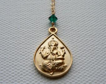Gold Ganesha Necklace, Ganapati Pendant, Ganesha Necklace, Gold Ganesha w/ Emerald Necklace, Yoga & Spirituality Jewelry, Indira Boheme