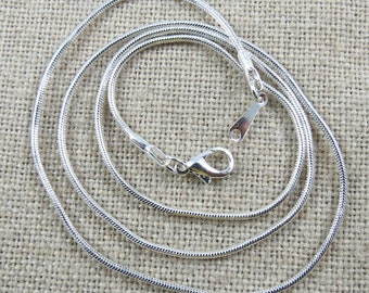 Silver Plated Snake Chain Necklaces 18 inch Chain with Lobster Clasp, Size is 1.2 mm Thick