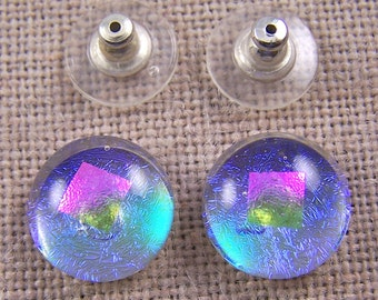 """Dichroic Earrings - 1/2"""" 12mm - Neon Moonstone Blue Teal with Pink Opal Accent Dot -  Glow - Post or Clip-On"""