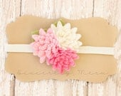 Pink Mini Mums- Wool Felt Fabric Flower Headband- Little girl headband