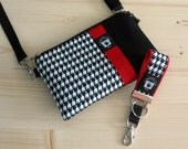 Classic iPhone, Smart Phone Hip Bag, Set, Crossbody Strap, Back Pocket, Mini Key Fob, Black and White Houndstooth, Pick Your Ribbon Color