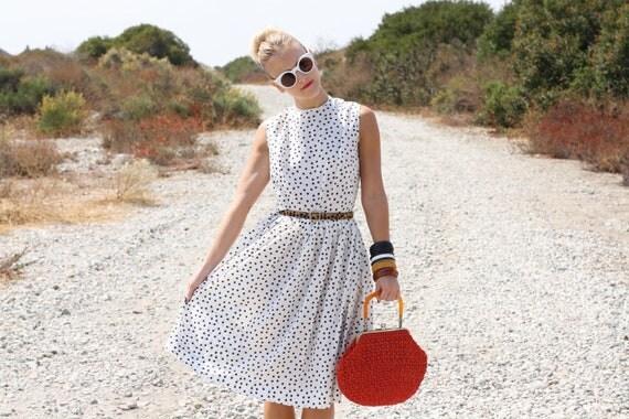 VTG 1950s 50s Black & White Polka Dot Dress w/ Full Skirt S/M