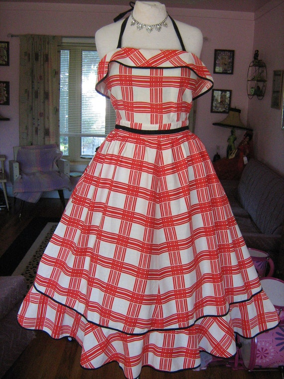 RESERVED 1950s ROCKaBILLY QUEEN Halter Dress Full Skirt Ruffle Details Western Amazing Unique Sundress  VLV
