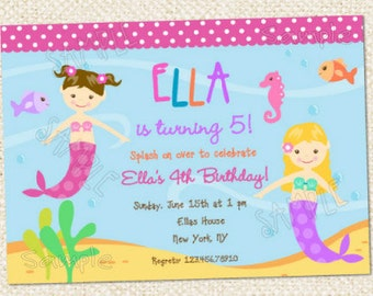 Mermaid Birthday Invitations