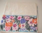 Vintage 1950s Linen Tablecloth with Floral Boader