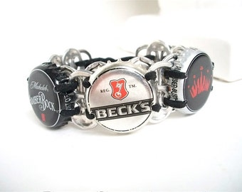 Beer Bracelet - SODA TAB WRISTBAND - red and black - unisex - upcycled/eco-friendly jewelry - under 20