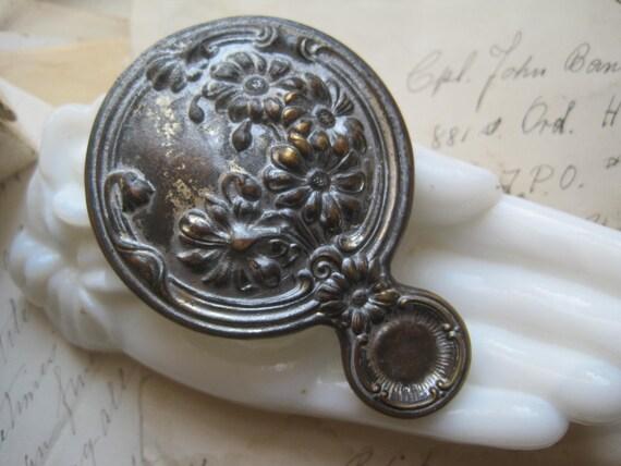 small, art nouveau, pocket mirror, rare, bridal, wedding, gift.