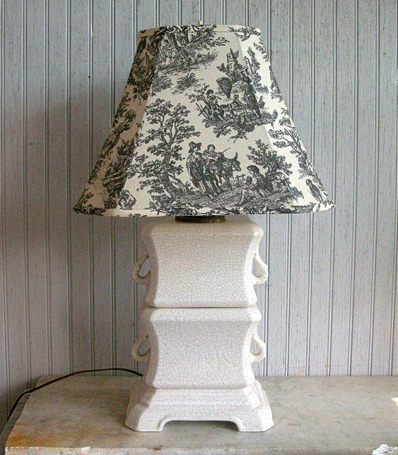Vintage French Country Crackle Finished Lamp