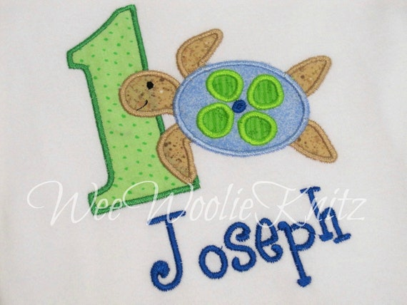 Sea Turtle Birthday T Shirt Boys Personalized Applique Summer Ocean Pool Party Beach Toddler 1sr 2nd 3rd
