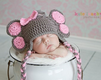 Little Miss Elephant Beanie in Gray and Baby Pink Available in Newborn to 5 Years Size- MADE TO ORDER