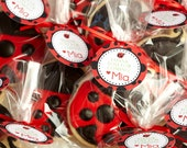 Little Lady Bug Birthday Favor Tags