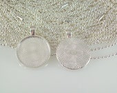 """Round Silver Plated Pendant Tray 1"""" Inch plus Silver Plated Ball Chain or Rolo Necklaces - 100 pcs each"""