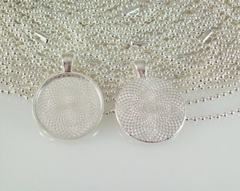 "Round Silver Plated Pendant Tray 1"" Inch plus Silver Plated Ball Chain or Rolo Necklaces - 100 pcs each"