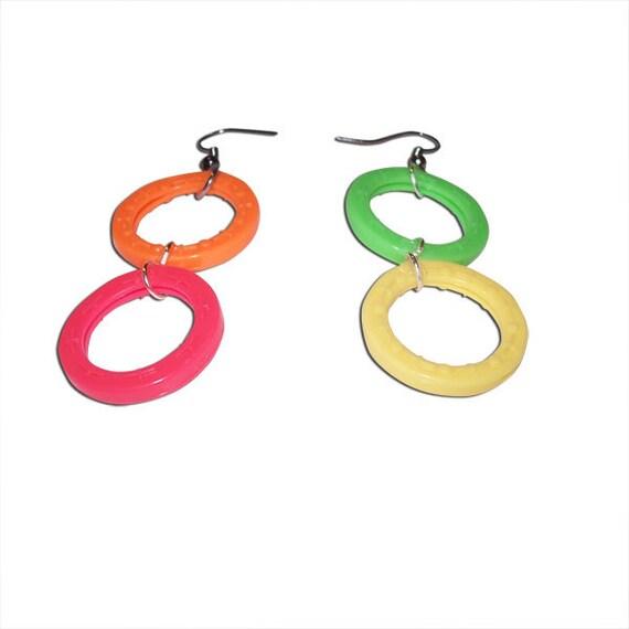 Neon Plastic Keyring Earrings