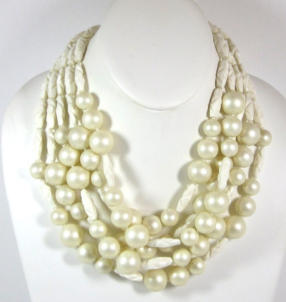 Vintage Ivory and Pearl Necklace, Multi - Strand Carved Faux Ivory and Faux Pearls, Rhinestones clasp