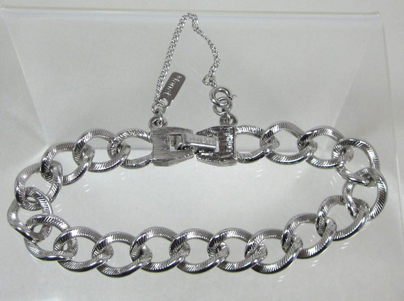 monet silver bracelet vintage signed monet silver chain bracelet with safety chain 229