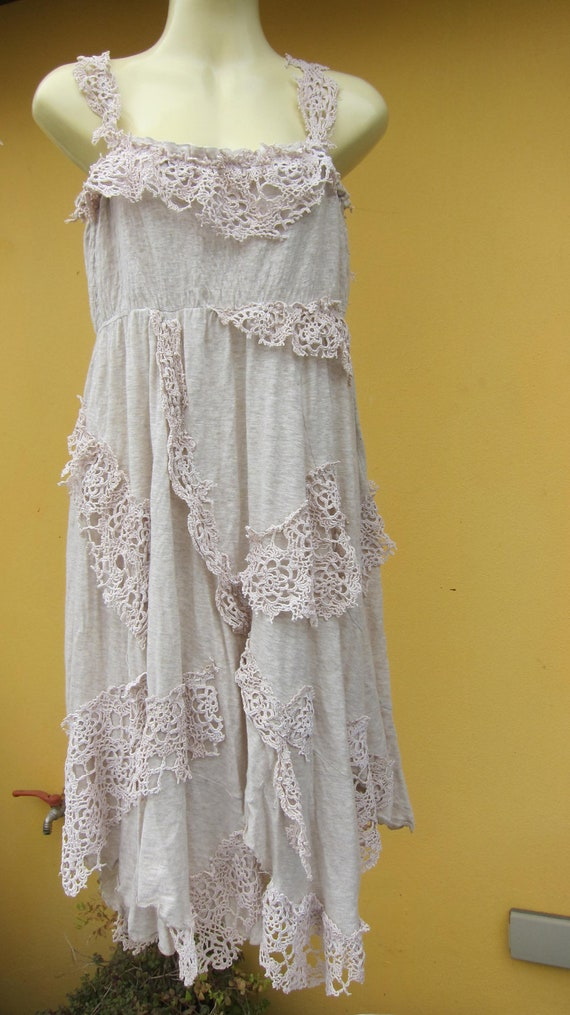 shabby chic...ivory cotton pixie hem dress with shabby pieces of crochet and doilies...