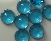 Indicolite Blue Faceted 6 pcs 8 mm high dome 4,7 mm Glass Round Cabochon  80CB