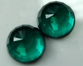 2 pcs 16 mm Light emerald Faceted high dome 9 mm Glass Round Cabochon  160CB