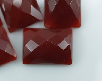 2 pcs Agate 12x16 mm rectangle faceted cabochons