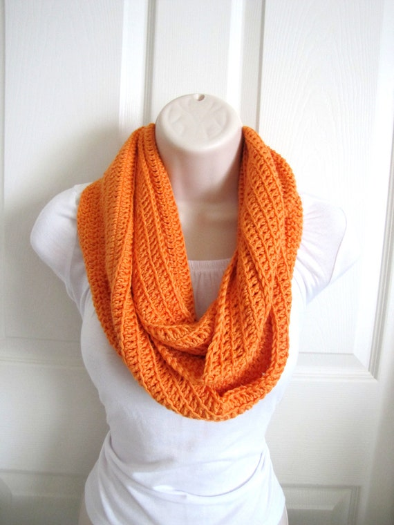 Infinity Scarf, Orange, Fashion Circle Scarf, Fall, Halloween
