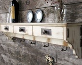 Distressed Wood Shelf - Coat Rack - Shabby Cottage - Antique Furniture - Rustic Shelf - Cottage Chic