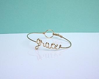 dainty 'grace' bracelet. Wire word bracelet.