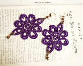 lace earrings -NOVELLA- purple