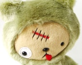 Kawaii ZOMBIE Teddy Bear Plushie in Green Faux Beaver Fur Large ZOMBEAR Limited Quanity