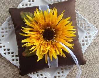 Wedding Ring Bearer Pillow - Yellow Spider Mum on Brown Espresso SILK