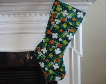 Christmas Stocking  -  Irish Pride Stocking with Plaid & Shamrocks
