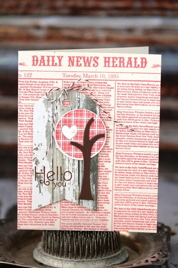Hello You - handmade card, pink newsprint background