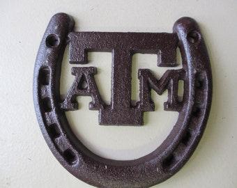 Cast Iron Texas A & M Horse Shoe,Aggies, maroon