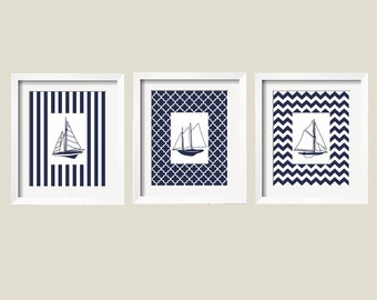 Sailboats Modern Nautical Prints in Navy and White 11x14 - 3 pc Set Pattern Background - Stripes Chevron Moroccan
