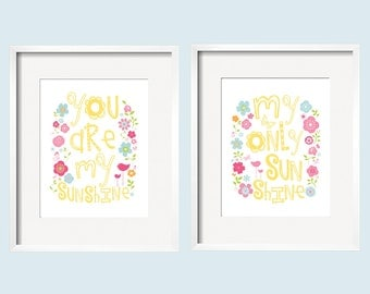You Are My Sunshine Prints - Flowers and birds in yellow, pink and blue for Petite Paisley Bedding by YassisPlace 068