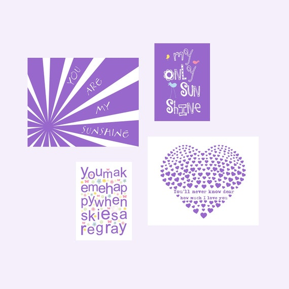 You Are My Sunshine Prints in purple. 4 prints set Eclectic Style 8x10 and 5x7 by YassisPlace