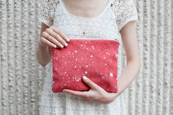 LAST ONE  Coral Red Splatter Leather-Suede Pouch No. SZP-101