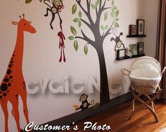 Giraffe with Jungle Monkeys Wall Decals - Monkey Tree Nursery Wall Stickers - PLMG030L