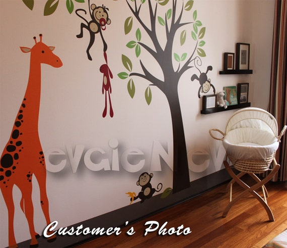 Giraffe with Jungle Monkeys Wall Decals - Monkey Tree Nursery Wall Stickers - PLMG030L