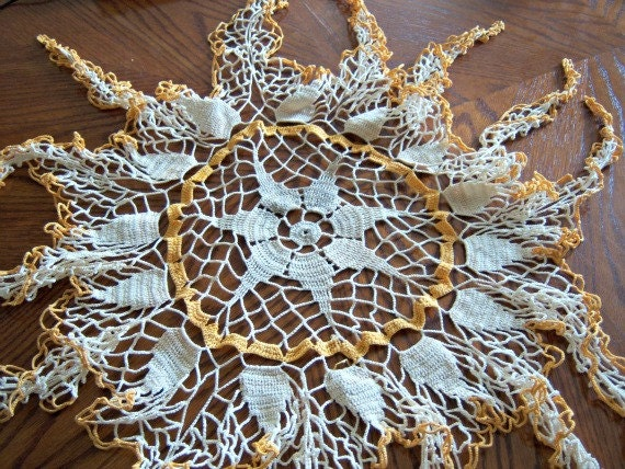 Vintage Mississippi Estate Sale Large Gold Cream Handmade Doily