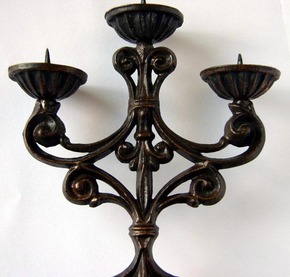 Vintage Russian Dark Brown Metal Victorian Steampunk Art Nouveau 3 Candle Holder Candlestick