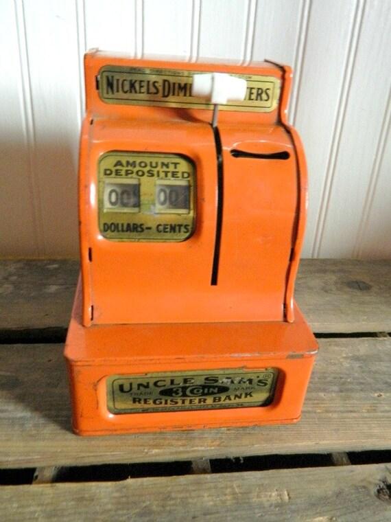 Vintage Orange Uncle Sams 3 Coin Register Bank