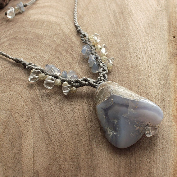 Crystal healing pendant with Blue Lace Agate, Citrine & Clear Quartz OOAK