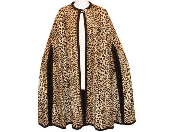 RESERVED FOR KINDRA Leopard Print Cape, Faux Fur and Wool, Vintage 1950s