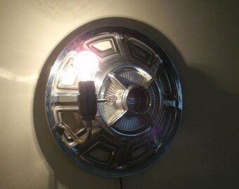 Classic Ford hub cap wall sconce hanging lamp No Wiring REQD