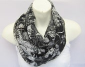 INFINITY Black, White, Gray Silk Chiffon Scarf...Tissu...Circle Scarf .Japanese traditional Flowers... for Woman or Teen