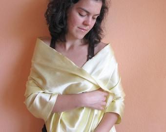 ecofriendly scarf Beautiful Pastel Cotton Satin Scarf in Ligcht Yellow... narcissus Designer Fabric